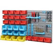 wall mounting plastic bin tool storage rack kit garage work organiser previous