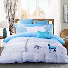 ice blue and white animal themed deer print snowflake country chic twin full queen size bedding sets for tweens kids