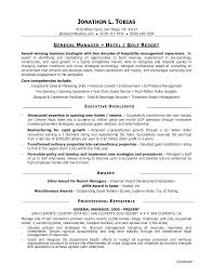 General Managersumestaurant Sample Stiberasumes Template Objective