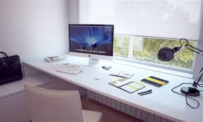 stylish home office computer room. Add Futuristic Table Lamp On Modern White Computer Desk Near Chair In Stylish Home Office Room