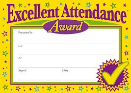 Attendance Award Template Excellence Perfect Attendance Award Certificate