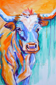 abstract western art longhorn cow painting by theresa paden