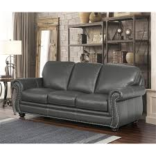 abbyson austin 2 piece leather sofa set in gray