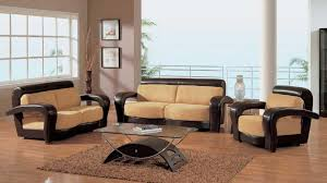 Simple Sofa Set Designs For Small Living Room Glamorous Brown Wooden Sofa Set For Room With Hardwood Floor