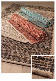fair trade recycled jute leather rag rug 90cm x 150cm