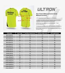 Ultron Size Chart All Malaysia Shirt Size Chart Free