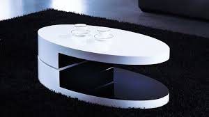 designer coffee tables stylish accessories high gloss white and black oval