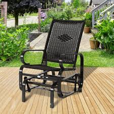 outsunny black rattan swing glider chair outdoor superior quality
