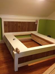 diy bed frame with storage the lincoln series platform queen size plans interalle com