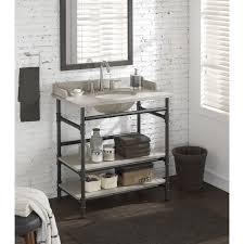 Open Shelf Vanity Bathroom 36 Inch Industrial Open Shelf Vanity With Backsplash 18184006