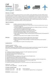 Logistics Associate Sample Resume Enchanting Logistics Manager CV Template Example Job Description Supply