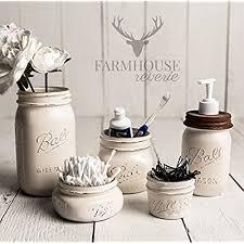 white bathroom decor. antique white rustic mason jar bathroom set | storage farmhouse decor vintage kitchen i