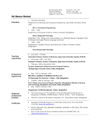 Resume Format For Lecturer In Computer Science Resume For Your