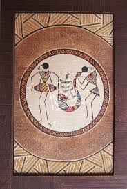 tribal band is an oil paint on pasted canvas with textured wooden frame extra painting frameswooden frames