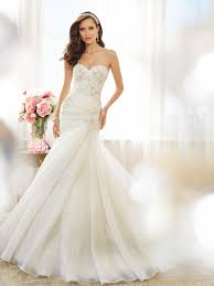 strapless sweetheart fit and flare wedding dress