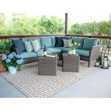 Fantastic Gray Wicker Patio Furniture and Blue Outdoor Sectionals