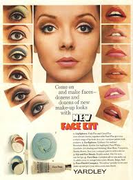 yardley advert model penelope tree showing the eye makeup looks and lip colours of the era the cleopatra influence can be seen in the last look