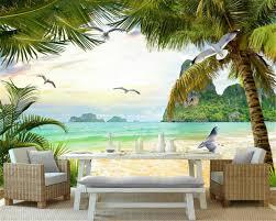 <b>Beibehang</b> Custom Any Size <b>Silk Cloth</b> Wallpaper Beach Coconut ...
