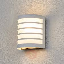 White Outside Lights Calin White Outdoor Wall Light With A Striped Look