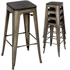 Best Choice Products Industrial Style Set Of 4 Steel Bar Stools W/ Wood Top  -