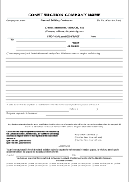 Contractor Proposal Template Printable Sample Construction Contract Template Form