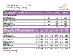 Cake Size And Price Chart Faqs Amphora Bakery Faqs Faqs