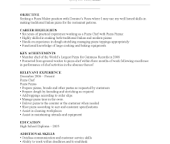 Delighted Sample Resume Pizza Chef Contemporary Example Resume