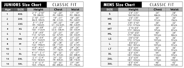 Wetsuit Size Chart Child Size Charts C Skins