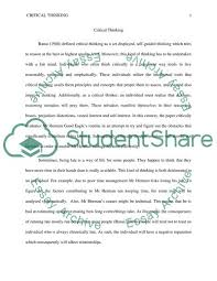 Essay About Critical Thinking Critical Thinking Essay Example Topics And Well Written