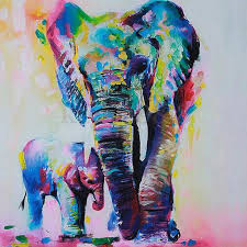 colorful elephant drawings.  Colorful 20X20cm DIY Full Drill Diamond Painting Cross Stitch Colorful Elephant  Printed Draw Picture Round Rhinestones Embroideryin  For Elephant Drawings R