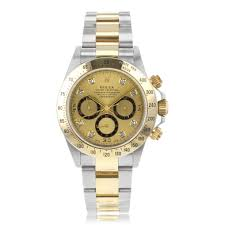 preowned second hand luxury watches the watch gallery® pre owned rolex daytona automatic steel gold gold dial mens watch 16523