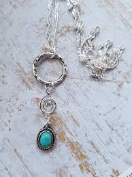 silver and turquoise pendant necklace dainty silver ring charm pendant boho turquoise layering pendant necklace gift for her