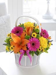 Basket Flower Decoration Happy Birthday Vibrant Basket Arrangement