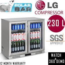 2 door bar fridge beer low e no condensation double glazed glass two double display alfresco under bench stainless steel 230l