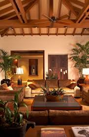 Unique Living Room Design Tropical Home Interior Design With Red Brick Wall Also Potted