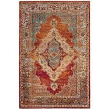 crystal orange light blue 7 ft x 9 ft area rug