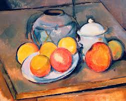 still life painting straw covered vase sugar bowl and apples by paul cezanne