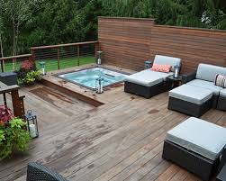 jacuzzi with modern outdoor deck