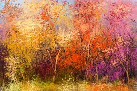 oil painting colorful autumn landscape background stock ilration ilration of field impressionist