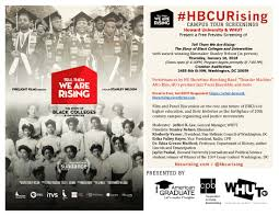 hu whut present a preview screening of tell them we are  hu whut present a preview screening of tell them we are rising the story of black colleges and universities howard calendar