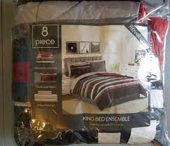 fairfield square 8 piece stripe red gray king reversible comforter set 100