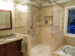 Granite Bathroom Tile Natural Wood Brench Ceiling Lamp Stone Bathroom Showers Black