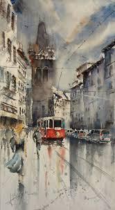 prague le tram watercolor by adrien coppola