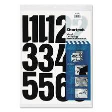 "Chartpak® Press-On <b>Vinyl</b> Numbers, <b>Self Adhesive</b>, Black, 4""h, 23 ..."