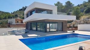 newly built modern villa with sea view