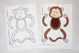 Easy Monkey Paper Puppet Templates Coloured Mum In The