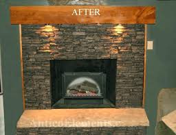 stone over brick fireplace before stone panels after stone panels refacing brick fireplace with stone veneer