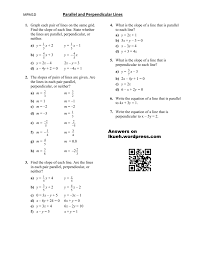 parallel and perpendicular lines worksheet answers