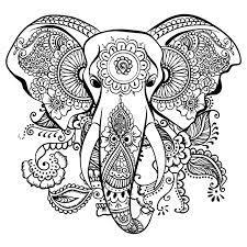 Tranh tô màu chú voi được vẽ họa tiết mandala « in hình này