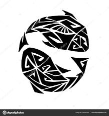 стилизованный знак зодиака рыбы стиле маори татуировки обращается